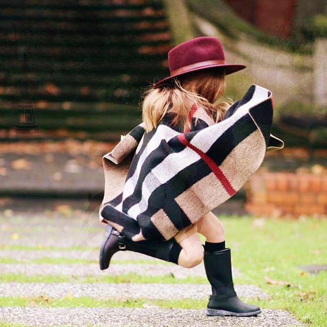 Новая Мода Baby Дети Плед Накидки Пончо Осень Зима Вязание Крючком Западной Детей Праздник Одежда