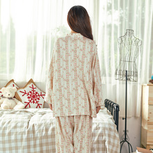 Song Riel brand cotton printing lovely sweet comfort women long sleeved pajama suit tracksuit Light Storm