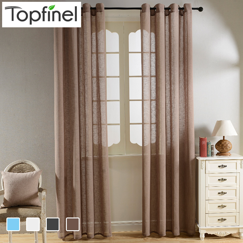 Top Finel Solid Faux Linen Sheer Curtains for Living Room Bedroom Yarn Curtains Tulle for Window Kitchen Home Voile Curtains(China (Mainland))