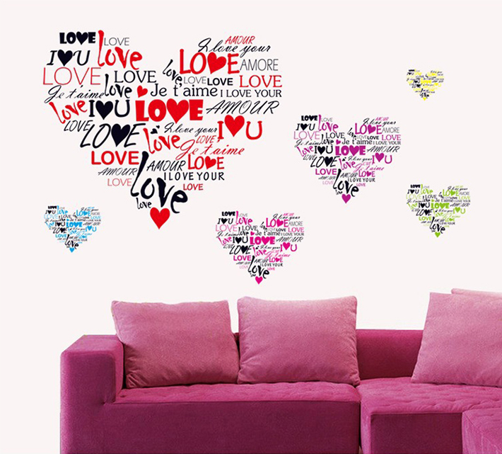 Wall Art Love Heart : Real love heart wall stickers home decor living room