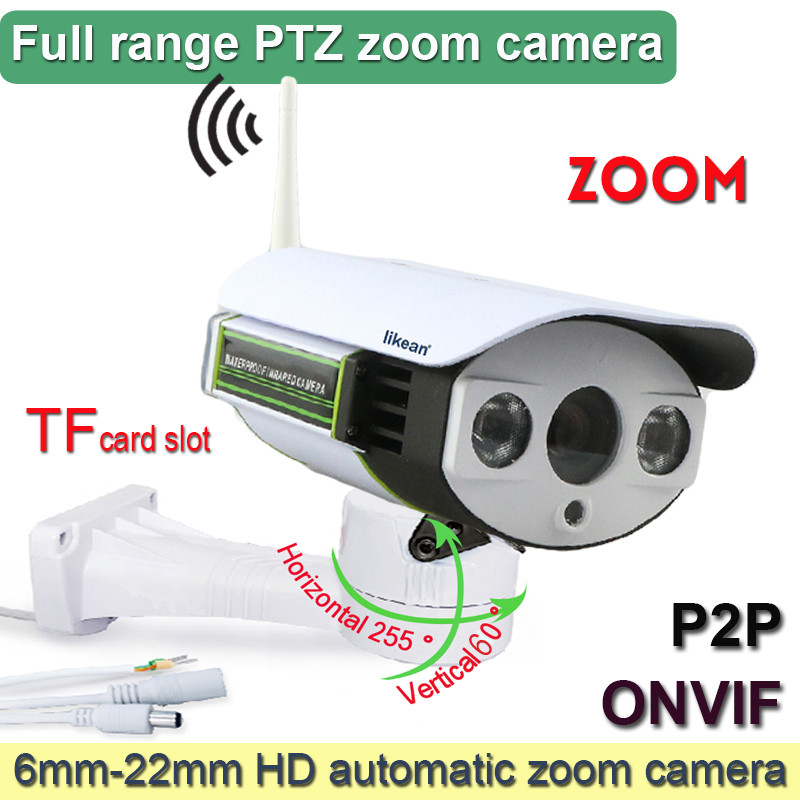 WIFI IP PTZ Camera Outdoor 1080P TF card slot Zoom Lens 6~22mm Auto Focus 2MP mic Infrared Bullet Wireless CCTV webcam likean(China (Mainland))