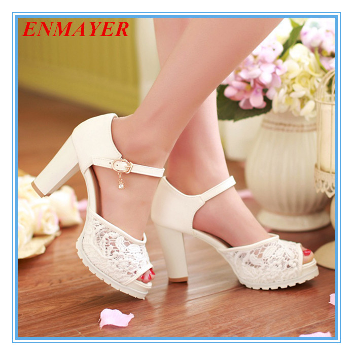 ENMAYER Ankle Strap Solid Cut-Outs Casual Lace women Sandals Square heel Cone Heels Platform big size 34-43 Shoes - Savvy shoes store