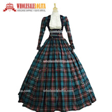 Top Sale Plaid Long Victorian Civil War 3-pc Tartan Period Dress/Southern Belle Gown Reenactment Theater Gown