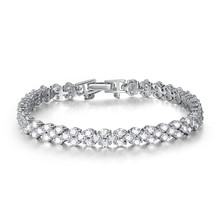 Precise 925 silver 100pcs AAA cubic zircon prong setting glorious bracelet Korean fundamental female model jewelry bracelet bijou