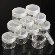 10Pcs 20g Portable Plastic Cosmetic Empty Jar Pot Box Makeup Nail Art Cosmetic Bead Storage Container  Round Bottle Transparent(China (Mainland))