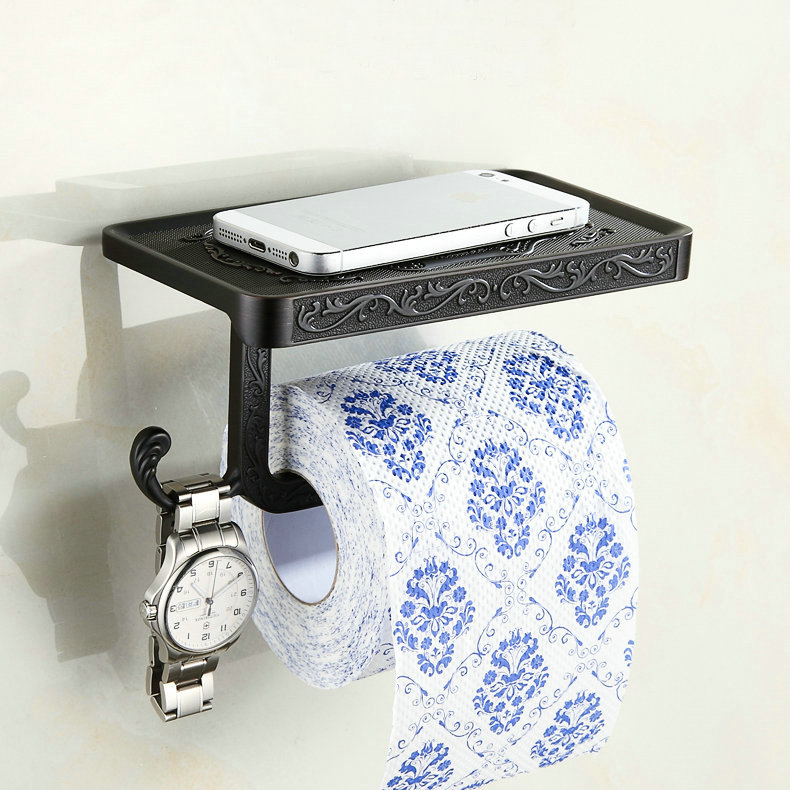 Black chrome white antique toilet paper holders mobile phone holder with hook bathroom - Bathroom accessories toilet paper holders ...