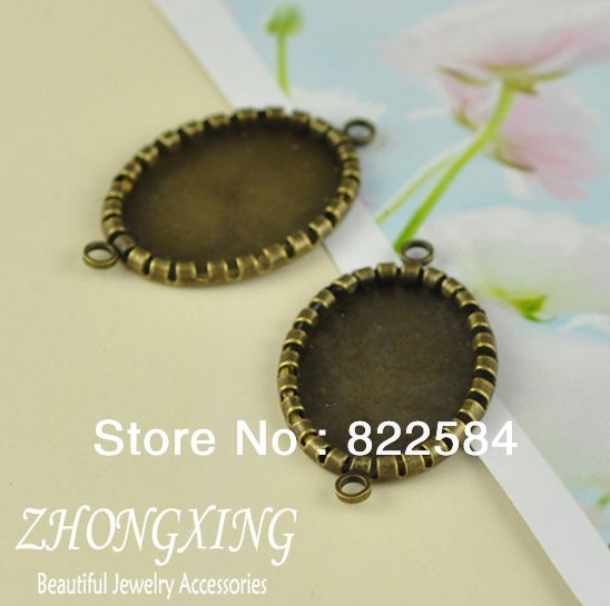 18*25MM(100pcs/lot) Antique Bronze Oval Blank Pendants Tray Base Cameo Stamping Blanks for Jewelry Making Free Shipping charms(China (Mainland))