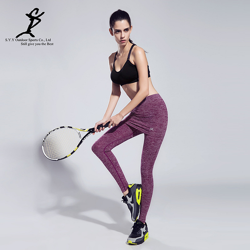 Hot Women Fake Two-Pieces Sports Running Leggings Professional Tennis And Badminton Tights New Fitness Skirts And Workout Pants(China (Mainland))