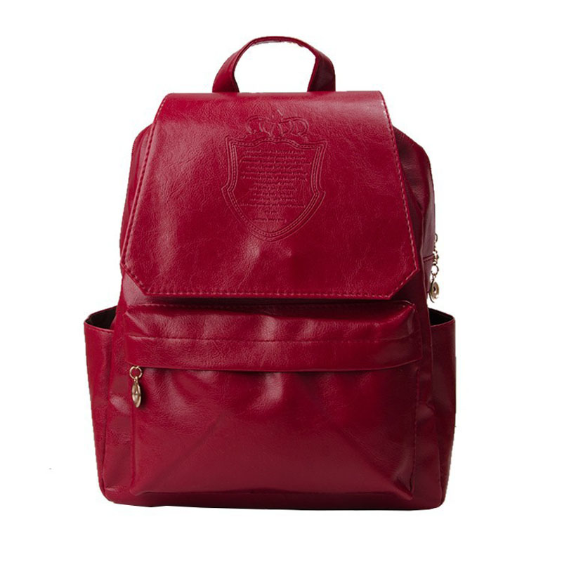 Leather backpack for women backpack red leather female bag ladies Book bag black school travel backpack bag<br><br>Aliexpress