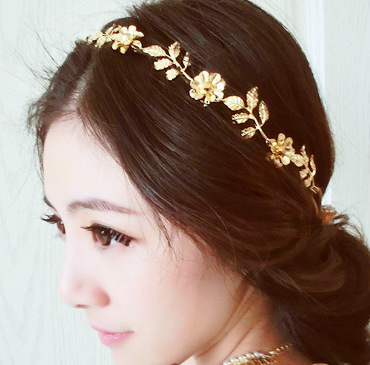 Fashion gold leaf tiaras Indian Hair jewelry accessories Metal Flower haarschmuck Hair band rhinestone hoop For women CF086(China (Mainland))
