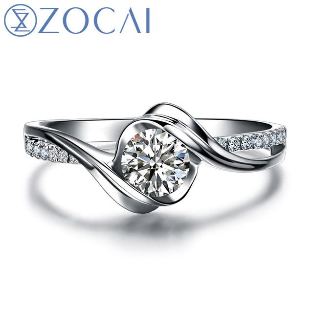 "ZOCAI Encounter ""0.4 Carat Effect"" 0.14 CT Certified Round Cut 18K White Gold (AU750) H/ SI Diamond Engagement Ring W02534"
