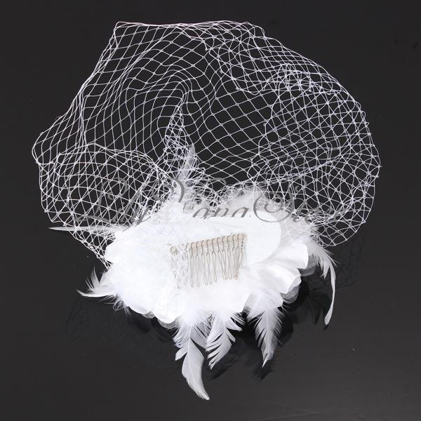 Velos de Novia Wedding Accessories Birdcage Bridal Veil Artificial Flowers White Feather Schleier Fast Free Shipping
