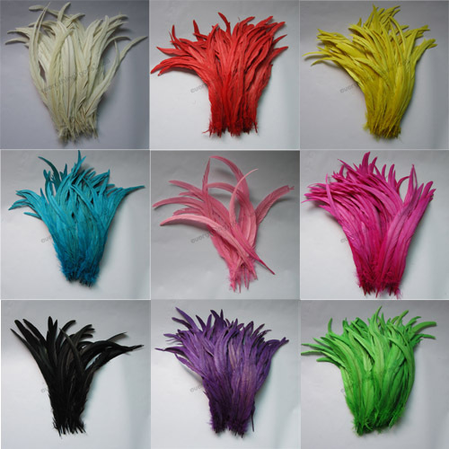 10s 14-16inches/35-40cm Multi Colored Dyeing Loose Rooster Tail Feathers Crafts GJ2-10 - TiTi Feather Market store