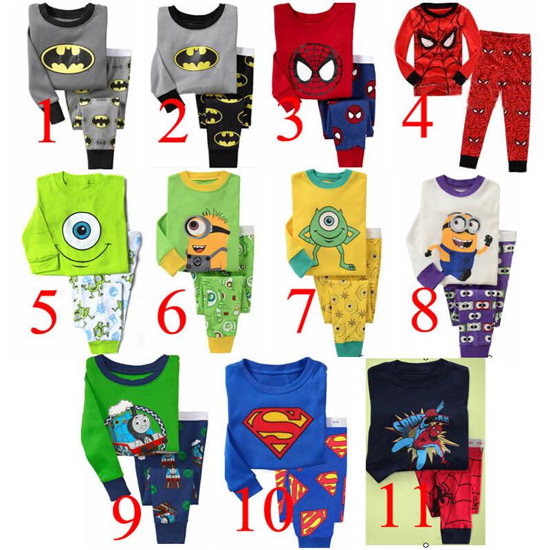 Retail 2 pcs set new 2014 brand babys cotton sleepwear boys Despicable Me pyjamas girls spiderman clothing kids pajama(China (Mainland))