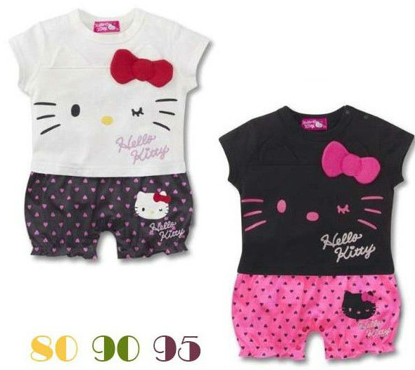 New Fashion 12pc/lot  Cotton short sleeve Hello kitty baby romper ,baby overalls ,infant rompers /garment<br><br>Aliexpress