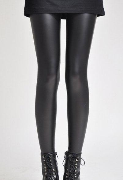 Women Hot Sexy Black Wet Look Faux Leather Leggings Slim Shiny Pants 9006(China (Mainland))