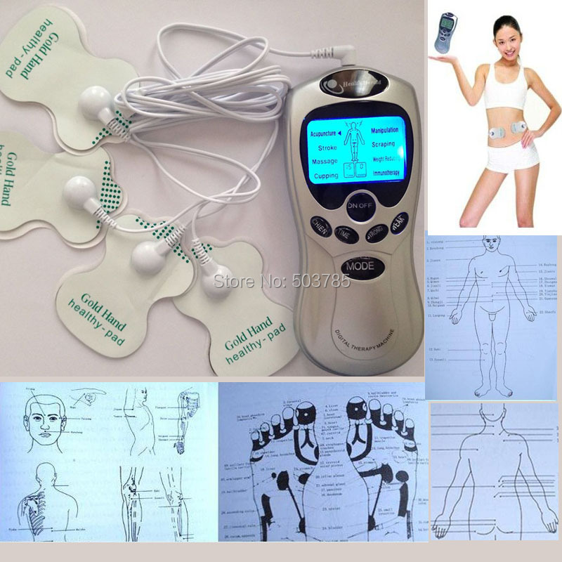 4 in 1 Full Body Shaper Slimming Tens Acupuncture Digital Therapy Massager Machine Massageador corporal with 4 Electrode Pads(China (Mainland))