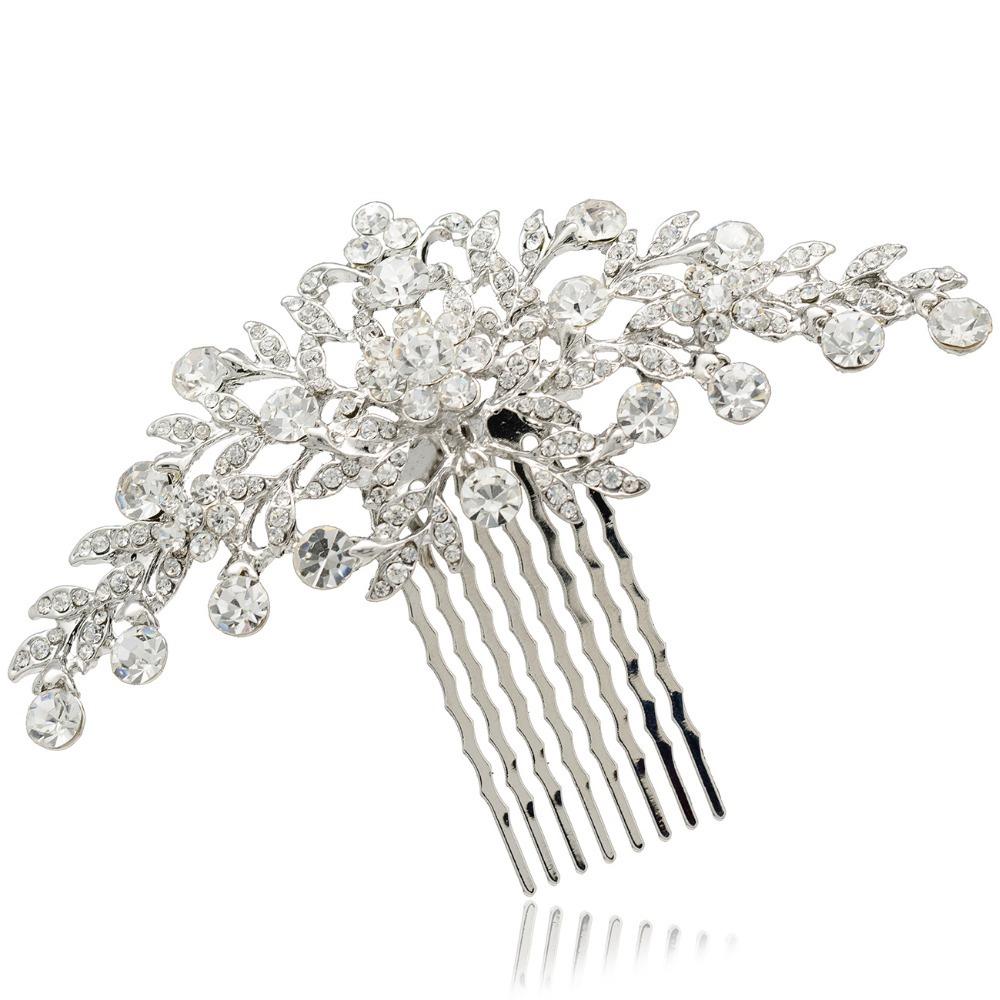 free shipping Wedding hair accessories Bride Bridal Floral Hair Comb Head Pieces hair jewelry Clear Rhinestone Crystals COFA2944(China (Mainland))