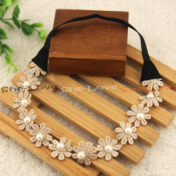 Boho Style Daisy Beige Lace Floral Crown Chain Garland Girls Hairband Headband(China (Mainland))