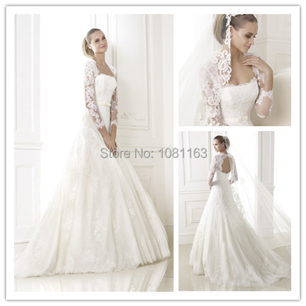 Buy hds471 vintage lace open back wedding for Open back bow wedding dress