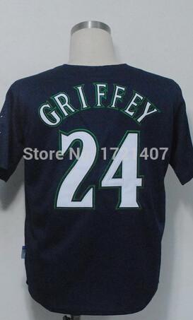 #24 Ken Griffey jersey Seattle Mariners Jerseys Baseball Jersey Best Quality Stitched Jersey Embroidery Logos,size XXXL(China (Mainland))