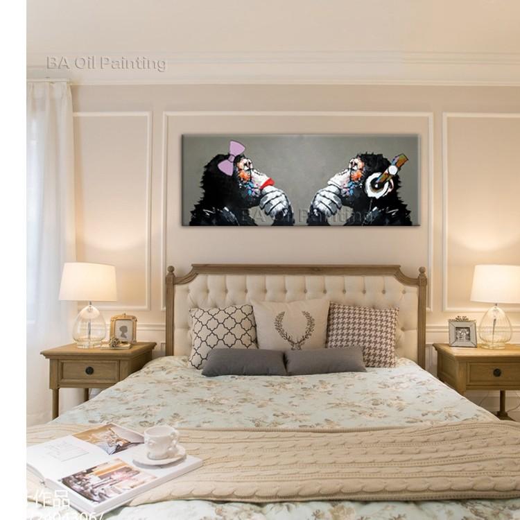Monkey love quadro moderno dipinto a mano scimmie arredamento quadri stile letto ebay - Quadri x camera da letto ...