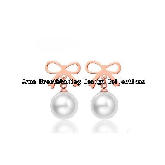 New Fashion Designs Freshwater Pearls Stud Earrings,18K Rose Gold Plated Bow with White Pearls,Women Favorite Charming Earring(China (Mainland))