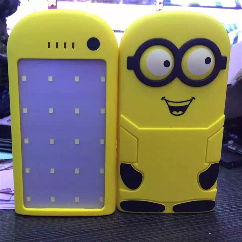 12000mah Cartoon Minion Solar Charger Powerbank With LED Lighting,Power Bank Bateria External Portable For All Mobile phone(China (Mainland))