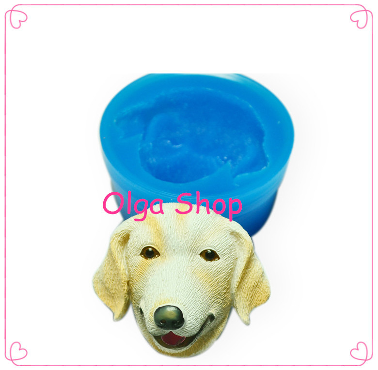 DYL113 3D Labrador Dog Silicone Mold - Sugarcraft Food Safe Gum Paste Fimo Clay Cabochon Tallow Mould(China (Mainland))