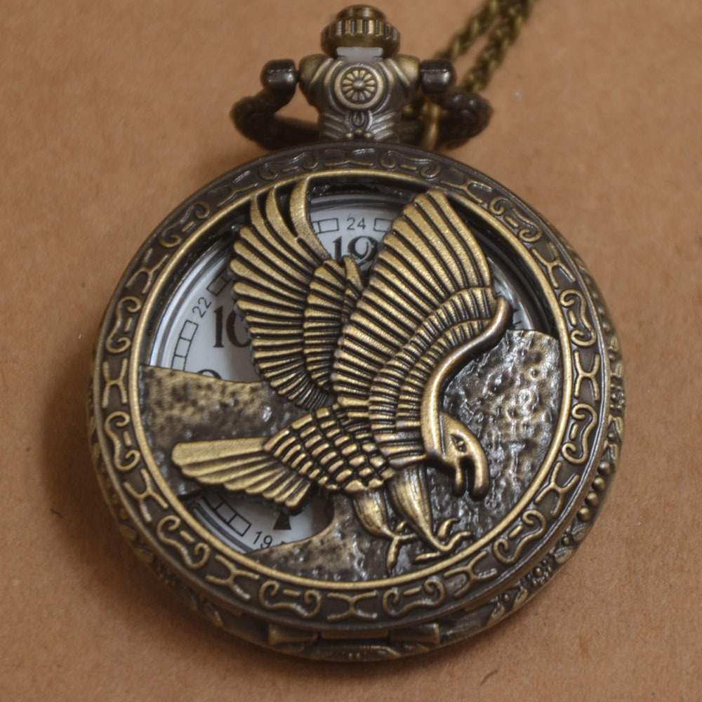 New Bronze Eagle Hawk Bird Hollow Pocket Watch Analog Pendant Necklace Chain Mens Womens Gifts P057(China (Mainland))