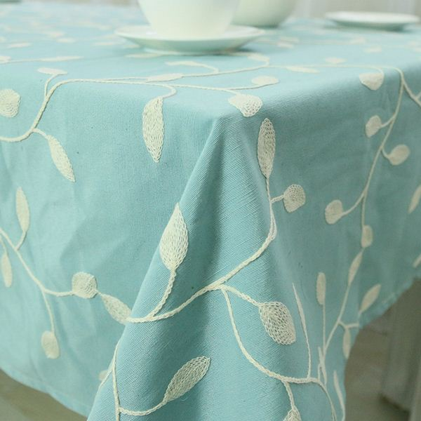 Embroidered Cotton Table Cloth Crochet Leaf Tablecloth Embroidery Dustproof Square Rectangular Dinning Table Cover Home Textile(China (Mainland))