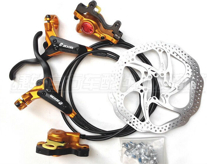 Zoom Hydraulic MTB Mountain Bike Bicycle Disc Brake Set Front &amp; Rear Calipers Left &amp; Right Levers + Bolts<br><br>Aliexpress