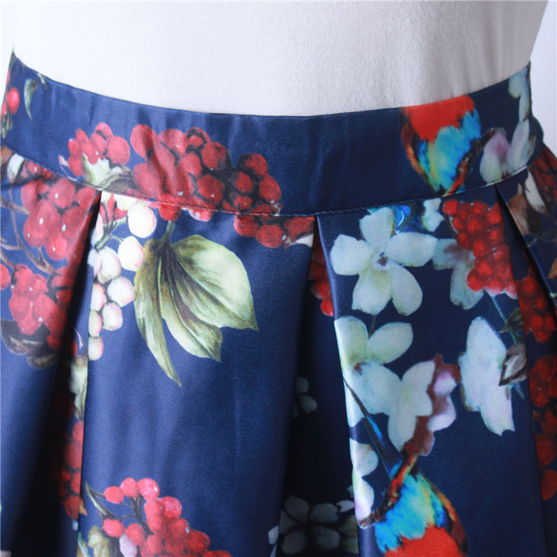 HTB1dBGHQFXXXXatXpXXq6xXFXXXI - GOKIC 2017 Summer Women Vintage Retro Satin Floral Pleated Skirts Audrey Hepburn Style High Waist A-Line tutu Midi Skirt