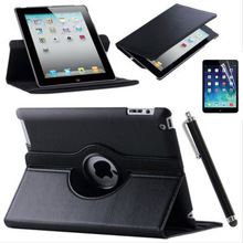 HOT! 360 Rotation PU Leather case for Apple ipad 2/3/4 Smart case flip cases with stand cover for ipad 4 3 2 9.7 Fundas+film+pen