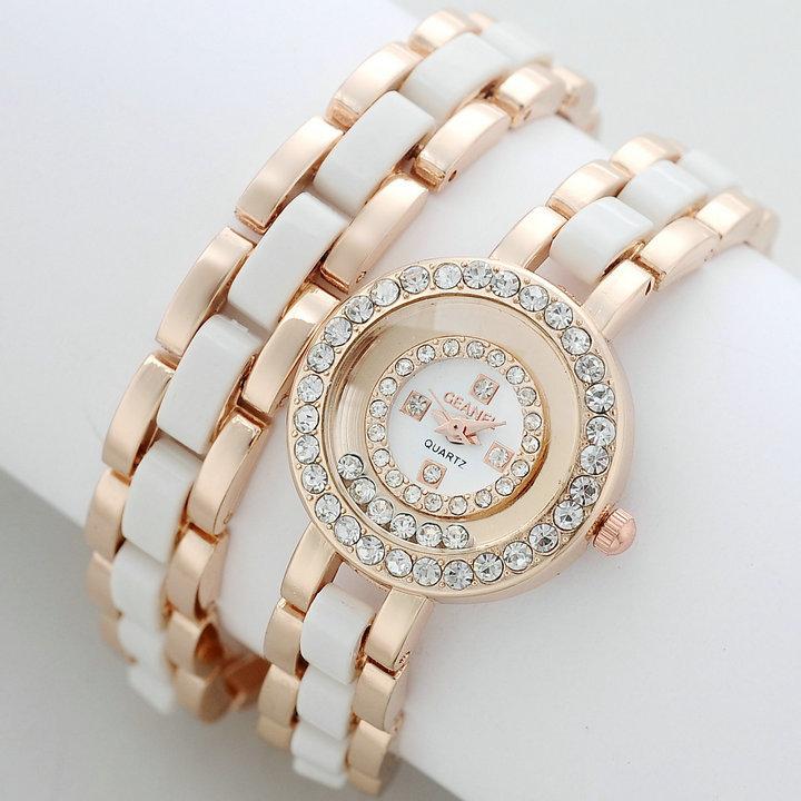 Hongkong GEANEL Brand New design 2 loops bracelet watch ladies women dress rhinestone watches fashion quartz watch CH-1(China (Mainland))