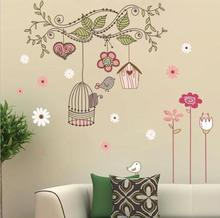 Happy Birds Vinyl Wall Stickers Cartoon Wall Stickers Home decoration Wall decals for Kids Nursery Living Rooms Free Shipping(China (Mainland))