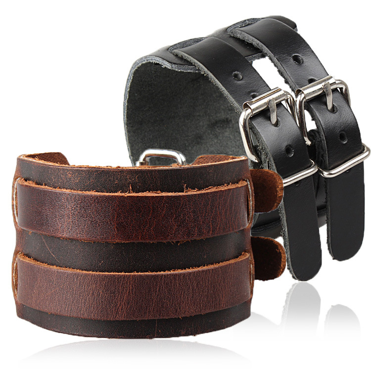 HandMade Wide Leather Belt Bracelet Bangles Fashion Jewelry Pulseira Couro Genuine Johnny Depp Bracelets Man Women - Just For You !! store