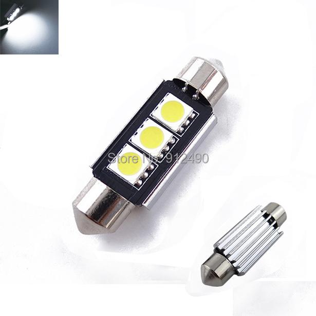 2pcs 36mm 39mm 3 SMD 5050 White Dome Festoon CANBUS Error Free Car 3 LED Light c5w led Lamp auto Bulb 12V led interior light(China (Mainland))