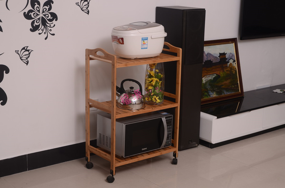 Buy Easy Microwave bamboo rack / kitchen shelving / Removable Storage debris storage rack push diner shipping cheap