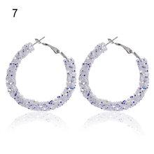 2019 New Fashion Design Women 1Pair Charm Austrian crystal hoop earrings Geometric Round Shiny rhinestone big earring jewelry(China)