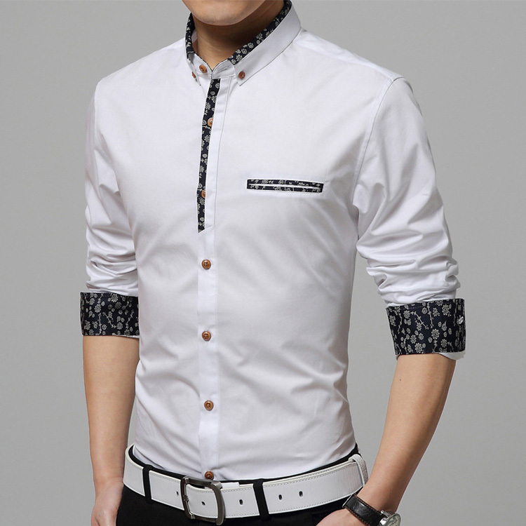 2016 spring brand new shirts men casual turn down collar for Top dress shirt brands