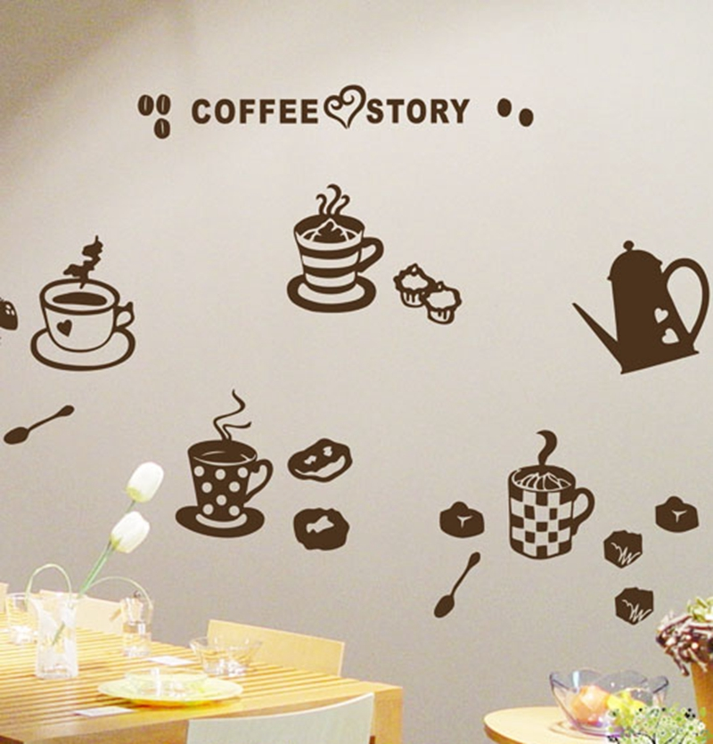 High quality coffee kitchen decor ,waterproof vinyl coffee story decoration wall stickers for kitchen free shipping(China (Mainland))