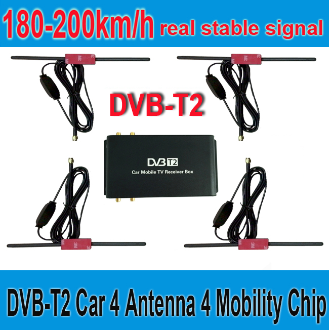 180-200km/h DVB-T2 Car 4 Antenna 4 Mobility Chip DVB T2 Car Digital Car TV Tuner HD 1080P TV Receiver BOX DVBT2(China (Mainland))
