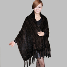Kintted Mink Fur Shawls with Tassel 170*55cm Overcoat Women Wrap with Pocket New Style Real Fur Scarf Top Quality 2015 BF-P0012(China (Mainland))