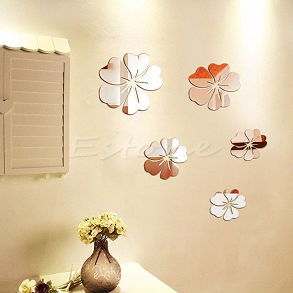 New Hot Mirror Style Flowers Removable Decal Vinyl Art Wall Sticker Home Decor(China (Mainland))