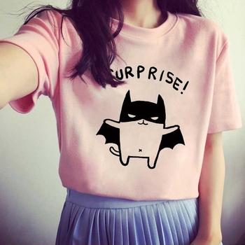 2016 Women's T-Shirt Lovely Bat Printed Short Sleeve Tops tee White/Gray/Pink O-Neck Camisetas Summer Style T Shirt Female