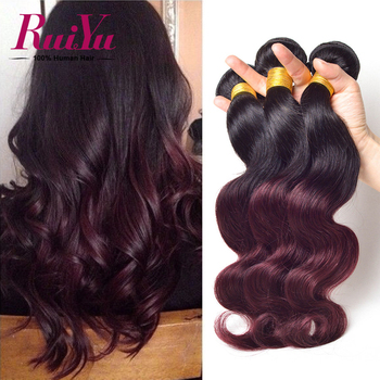 Ombre Hair Extensions 7A Malaysian Virgin Hair 3 Bundles T1B/Burgundy #99j Malaysian Body Wave Ombre Human Hair Weave Extensions