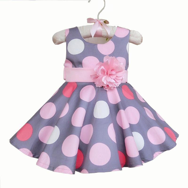 Fashion Baby Girl Dress Gray Princess Girls Dresses Polka Dots Summer Sleeveless Korea Style Dress Pink