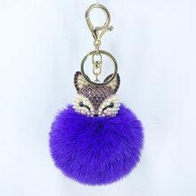Bonito mini chaveiro bola de pele de raposa fofo artesanal pele pompom bola strass incrustados lady bag acessórios chave do carro pingente anel(China)