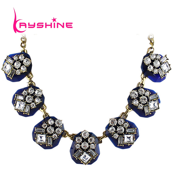 Designer Jewelry 2014 Colorful Created Gemstone Collar Choker Necklace for Women Wholesale(China (Mainland))